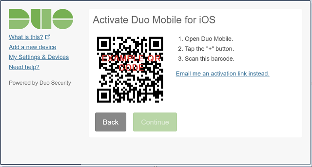 "Screenshot of the ""Active Duo Mobile"" prompt with a sample QR code displayed."