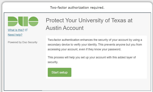 "Screenshot of the ""Protect Your University of Texas at Austin Account"" prompt."